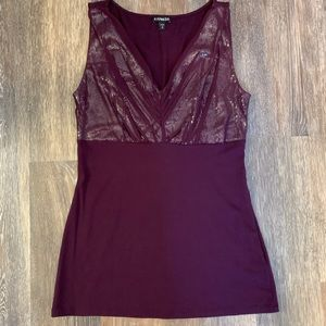 Express wine colored V-neck sequined top.